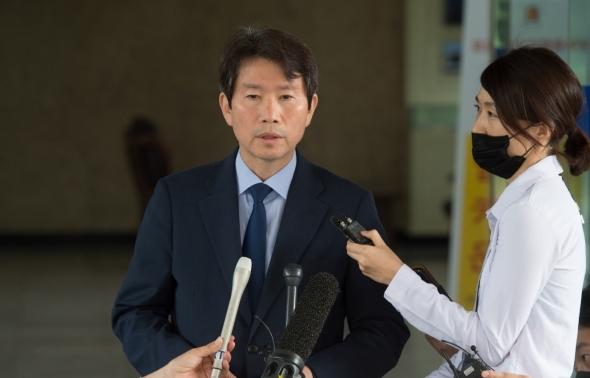 이인영 통일부 장관 후보자 '첫 출근'