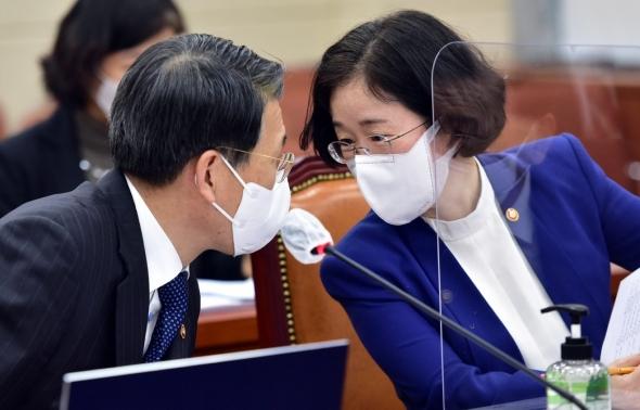 논의하는 은성수 금융위원장과 조성욱 공정거래위원장