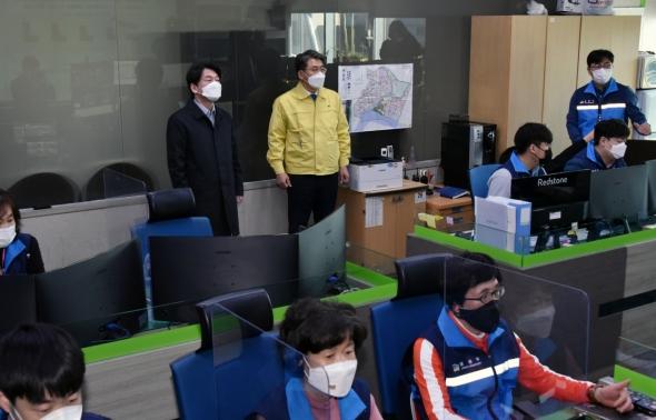 스마트도시 통합운영센터 방문한 안철수
