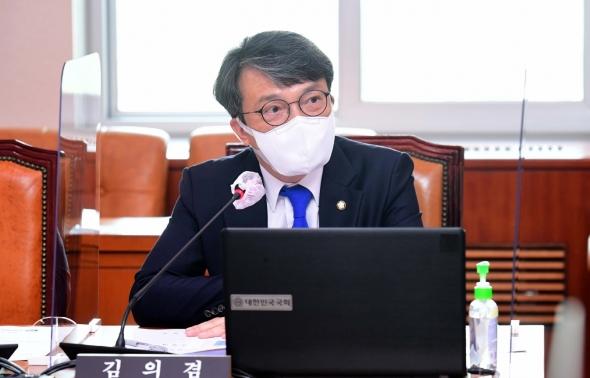 인사말하는 김의겸 열린민주당 의원